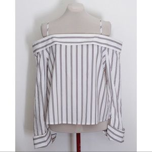 NWT Forever 21 Off Shoulder Striped Blouse, Sz XL